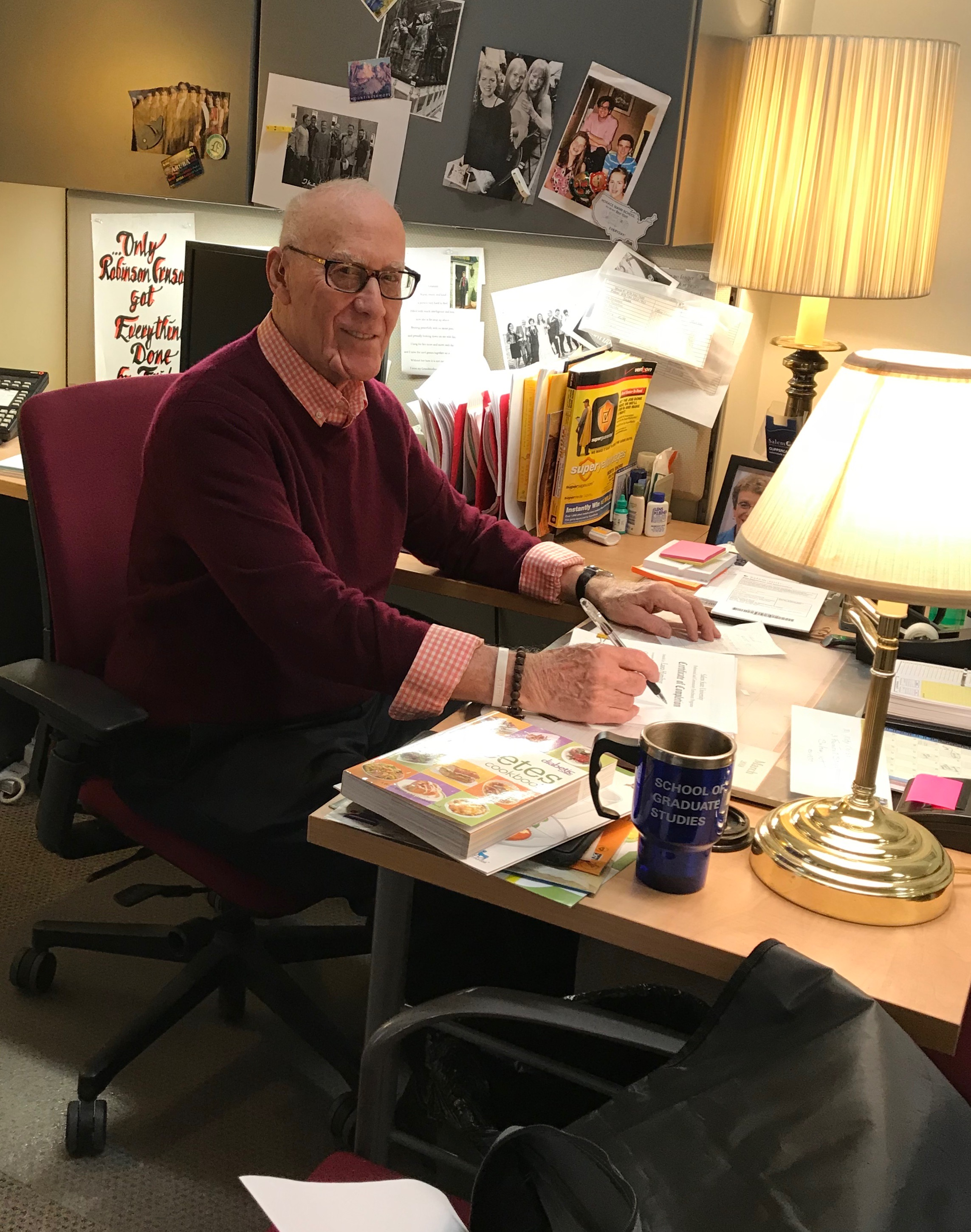 Brooksby Village resident Jerry Rosen works four days a week at Salem State University.